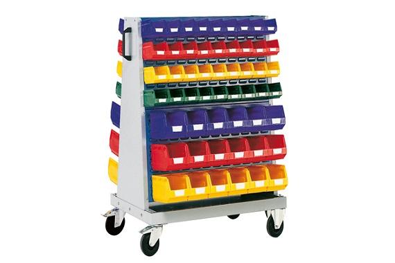 Dielenský vozík s plastovými boxami