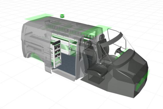 Grafický návrh zariadenia do vozidiel